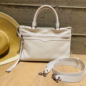 White Rebecca Minkoff Bedford Zip Leather Satchel